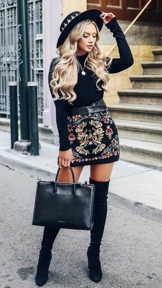 How to wear: black leather tote bag, black suede over the knee boots, black embroidered mini skirt, black velvet long sleeve t-shirt