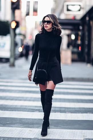How to wear: black fur crossbody bag, black suede over the knee boots, black mini skirt, black turtleneck