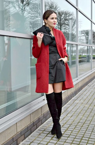 How to wear: black satin clutch, black suede over the knee boots, black satin sheath dress, red coat