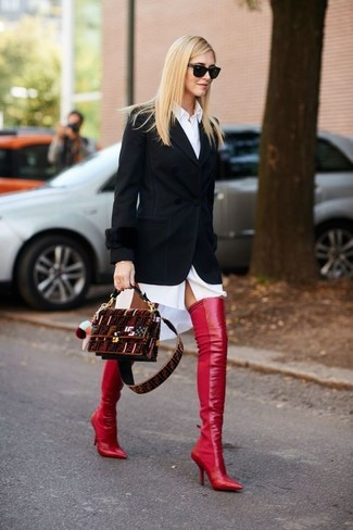 How to wear: burgundy suede crossbody bag, red leather over the knee boots, white shirtdress, black blazer
