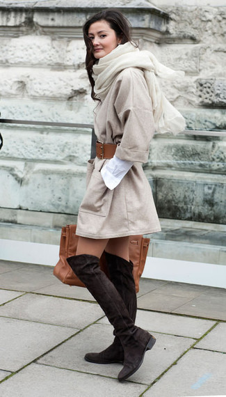 How to wear: brown leather tote bag, dark brown suede over the knee boots, white shirtdress, beige coat