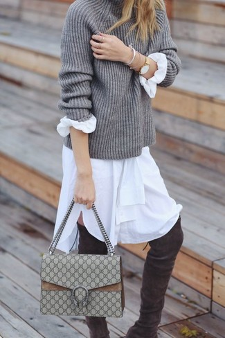 How to wear: beige canvas satchel bag, charcoal suede over the knee boots, white shirtdress, grey knit turtleneck