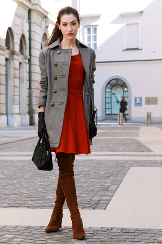 How to wear: black leather tote bag, tobacco suede over the knee boots, red skater dress, grey coat