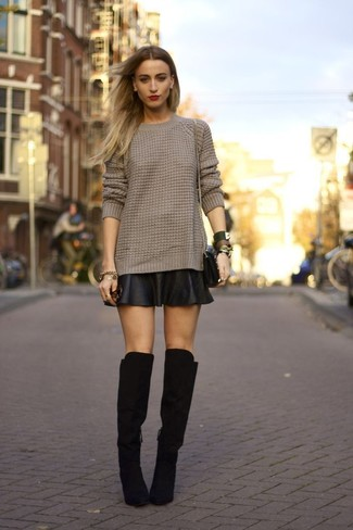 How to wear: black leather crossbody bag, black suede over the knee boots, black leather skater skirt, brown cable sweater