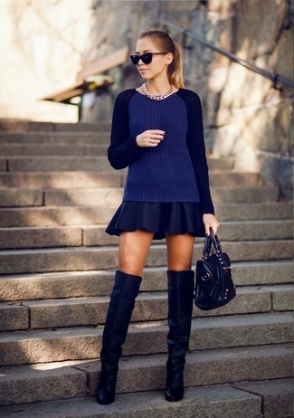 How to Wear a Navy Skater Skirt: If it's ease and functionality that you're looking for in a look, try pairing a navy cable sweater with a navy skater skirt. If you feel like stepping it up, complete your ensemble with navy suede over the knee boots.