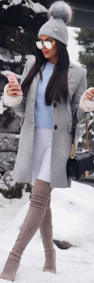 How to Wear a Grey Knit Beanie For Women: If you like classic combinations, then you'll love this pairing of a grey coat and a grey knit beanie. Finishing with beige suede over the knee boots is a fail-safe way to infuse a dose of sophistication into this outfit.