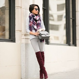 How to wear: grey quilted leather crossbody bag, red suede over the knee boots, grey skinny jeans, grey horizontal striped crew-neck sweater