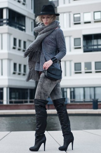 How to wear: black leather crossbody bag, black leather over the knee boots, grey acid wash skinny jeans, grey crew-neck sweater