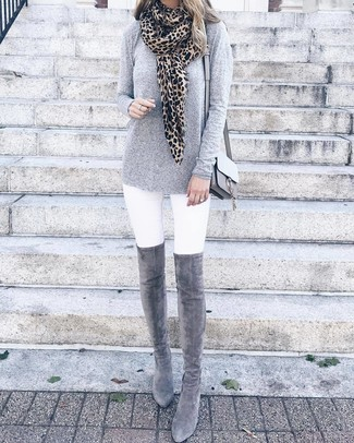 How to wear: grey leather crossbody bag, grey suede over the knee boots, white skinny jeans, grey long sleeve t-shirt