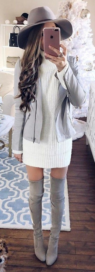 How to wear: grey wool hat, grey suede over the knee boots, white knit sweater dress, grey leather biker jacket