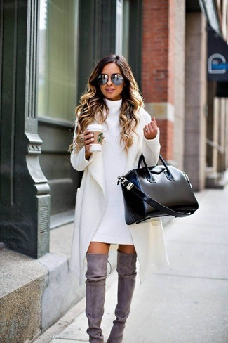 How to wear: black leather tote bag, grey suede over the knee boots, white sweater dress, white coat