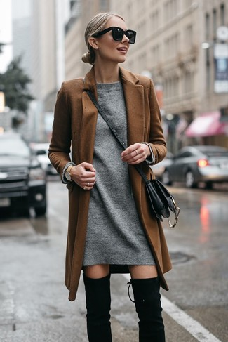 How to wear: black leather crossbody bag, black suede over the knee boots, grey sweater dress, brown coat