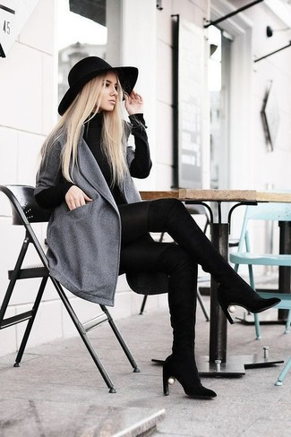 How to wear: black wool hat, black suede over the knee boots, black sweater dress, grey coat