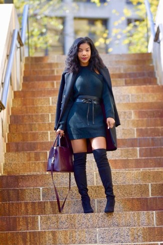 How to wear: burgundy leather tote bag, black suede over the knee boots, navy sweater dress, navy coat