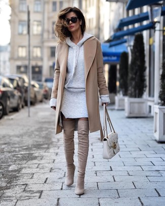 How to wear: white quilted leather satchel bag, beige suede over the knee boots, grey sweater dress, camel coat