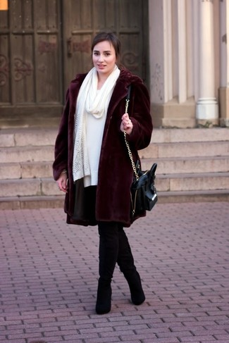 How to wear: black leather satchel bag, black suede over the knee boots, white sweater dress, burgundy fur coat