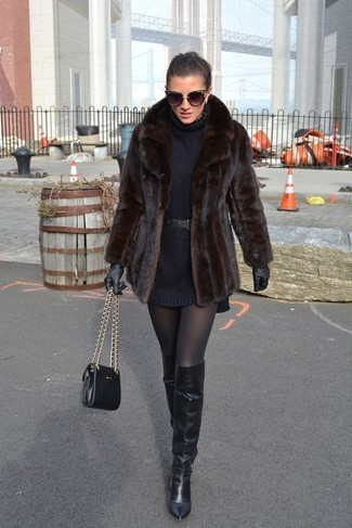 How to wear: black leather crossbody bag, black leather over the knee boots, black sweater dress, dark brown fur jacket