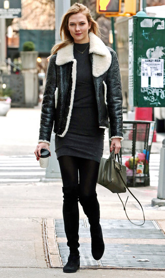 How to wear: olive leather crossbody bag, black suede over the knee boots, charcoal sweater dress, black and white shearling jacket