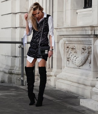 How to wear: black quilted leather crossbody bag, black suede over the knee boots, black sequin tank dress, white shirtdress