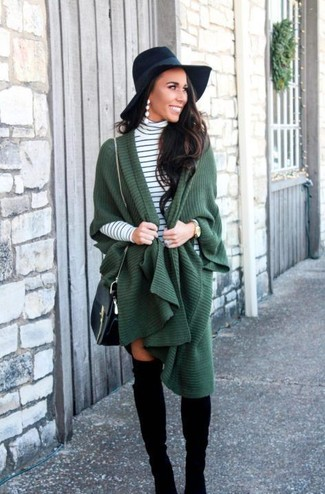How to wear: black leather crossbody bag, black suede over the knee boots, white and black horizontal striped turtleneck, dark green poncho