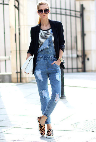 How to wear: tan leopard suede low top sneakers, blue denim overalls, white and black horizontal striped crew-neck t-shirt, black blazer