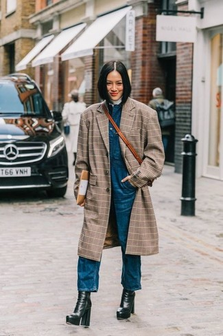How to wear: black chunky leather ankle boots, blue denim overalls, white turtleneck, brown plaid coat