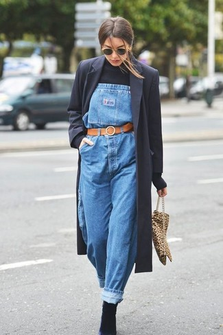 How to Wear a Tobacco Leather Belt For Women: You'll be amazed at how easy it is to get dressed this way. Just a black coat and a tobacco leather belt. Feeling venturesome today? Smarten up this outfit with black suede ankle boots.