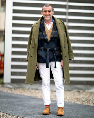 How to wear: olive overcoat, navy print wool blazer, tan cardigan, white polo