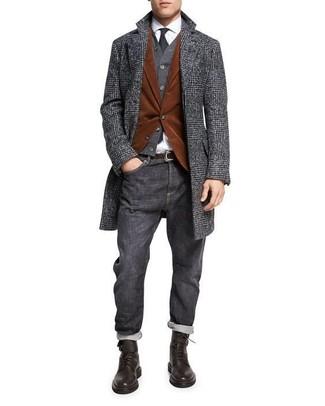 How to wear: charcoal plaid overcoat, tobacco corduroy blazer, charcoal cardigan, white dress shirt
