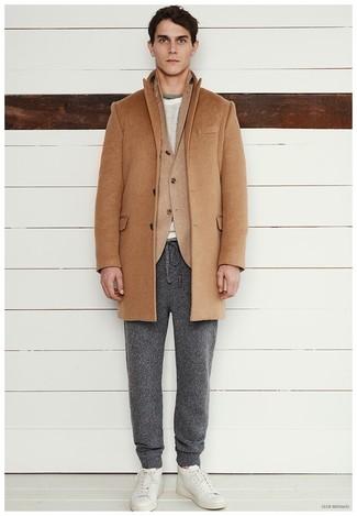 How to wear: camel overcoat, tan wool blazer, grey crew-neck sweater, charcoal sweatpants