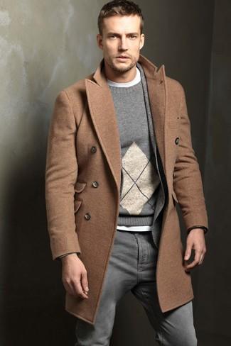 How to wear: camel overcoat, grey herringbone wool blazer, grey argyle crew-neck sweater, white crew-neck t-shirt