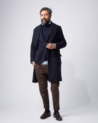 How to wear: navy overcoat, navy wool blazer, navy crew-neck sweater, mint vertical striped long sleeve shirt