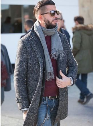 How to wear: charcoal herringbone overcoat, charcoal wool blazer, burgundy crew-neck sweater, blue jeans