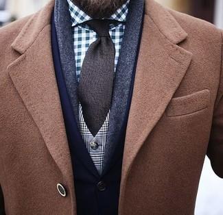 How to wear: camel overcoat, navy blazer, blue gingham dress shirt, dark brown tie