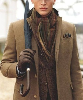 Team a brown overcoat with a dark brown sportcoat for a sharp, fashionable look. Loving how this look brings you into fall mode in no time.
