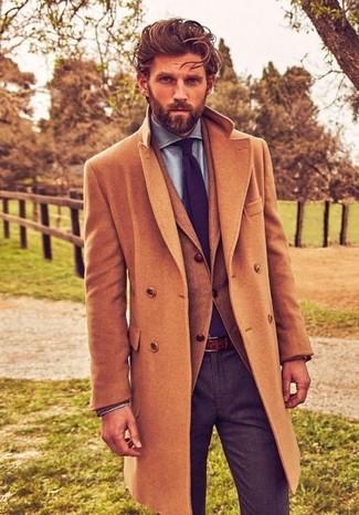 How to wear: camel overcoat, tan wool blazer, light blue chambray dress shirt, charcoal wool dress pants