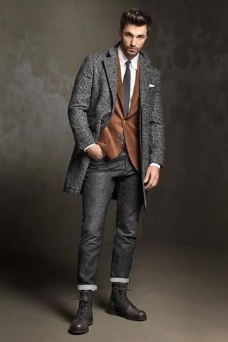 How to wear: charcoal herringbone overcoat, brown corduroy blazer, white dress shirt, charcoal jeans