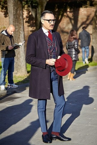 How to wear: navy overcoat, red and navy plaid blazer, white dress shirt, navy dress pants