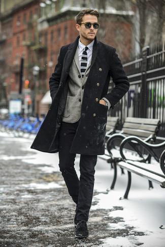 How to wear: black overcoat, grey wool blazer, white dress shirt, black chinos