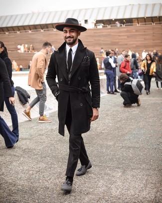 How to wear: black overcoat, grey herringbone wool blazer, white dress shirt, black dress pants
