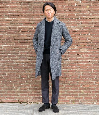 How to wear: grey overcoat, charcoal wool blazer, grey dress shirt, black crew-neck t-shirt