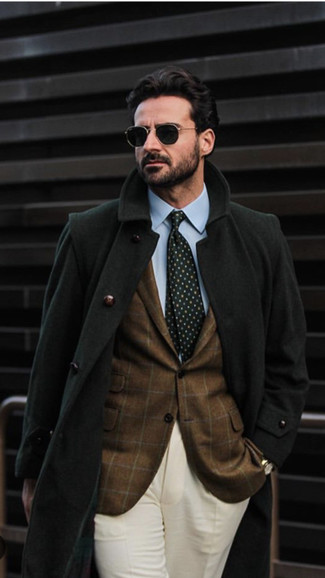 How to wear: black overcoat, brown check blazer, light blue dress shirt, beige dress pants