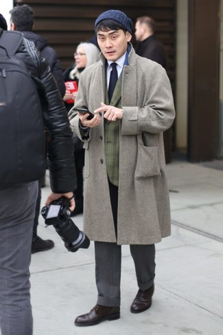 How to wear: grey overcoat, olive plaid blazer, white dress shirt, grey dress pants