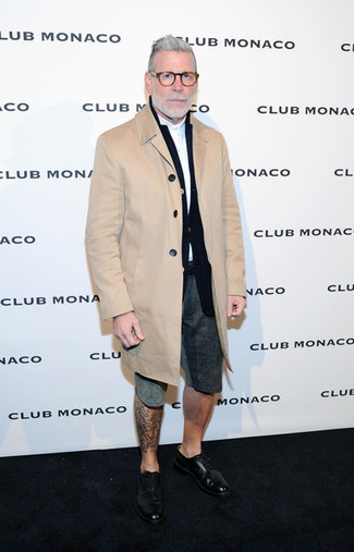 Nick Wooster wearing Camel Overcoat, Black Blazer, White Long Sleeve Shirt, Charcoal Shorts