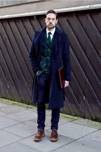 How to wear: navy overcoat, navy and green plaid blazer, white long sleeve shirt, navy jeans