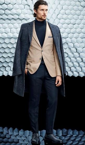 How to wear: charcoal overcoat, tan blazer, navy turtleneck, navy dress pants