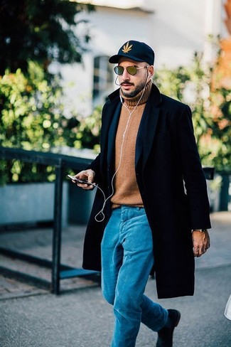 How to wear: black overcoat, navy wool blazer, tan wool turtleneck, aquamarine chinos