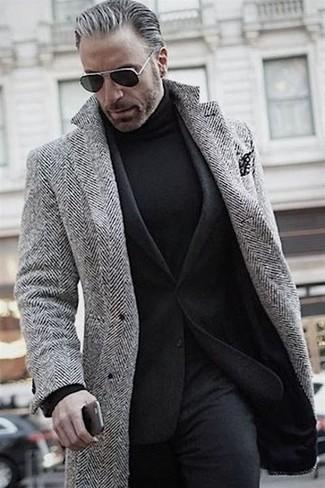 How to wear: grey herringbone overcoat, black wool blazer, black turtleneck, black wool dress pants