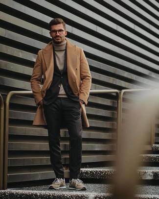 How to wear: camel overcoat, black blazer, beige turtleneck, black dress pants