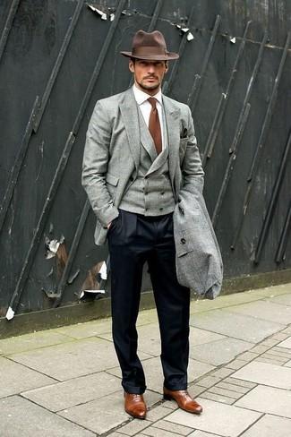 How to wear: grey overcoat, grey blazer, grey waistcoat, white dress shirt